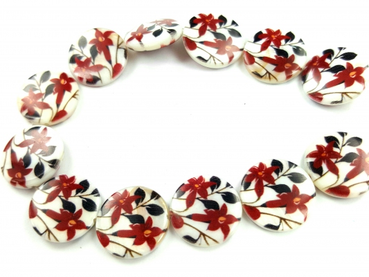 Natural Printed Sea Shell Bead, 15MM *Carved Red Flower Coin*