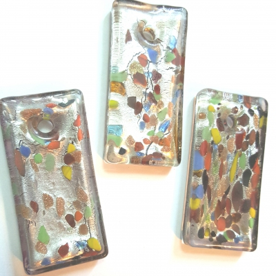 MURANO Style Handmade Glass Pendant, Focal Long Rectangle shape, Silver with Abstract mix color
