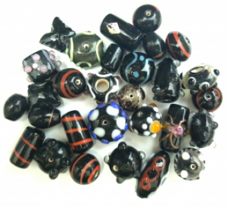 Handmade Semi-Lampwork Glass Beads, *Black*