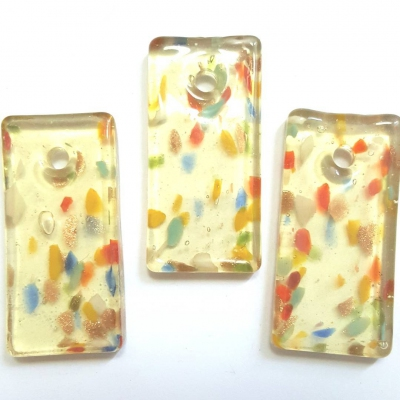 MURANO Style Handmade Glass Pendant, Focal Long Rectangle shape, Light Yellow with Abstract mix color