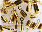Cord Crimp-tip (with teeth and loop), Gold electroplated