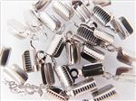 Cord Crimp-tip (with teeth and loop), White Gold electroplated