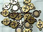 Connector/ Link/ Cabochon Setting (fit 8mm Cabs), Antique Bronze electroplated