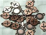 Connector/ Link/ Cabochon Setting (fit 8mm Cabs), Antique Copper electroplated