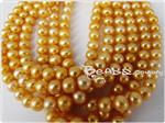Natural Fresh Water Pearl Beads, Golden, 6mm Near-Round shape