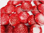 Natural Printed Sea Shell Bead, Focal 30MM *Carved Rose Coin*